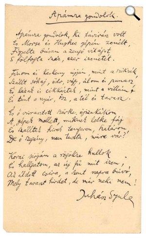 Juhász Gyula: Apámra gondolok - kézirat