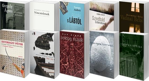 A 2014-es AEGON Művészeti Díjra esélyes tíz könyv (fotó: Cultura)