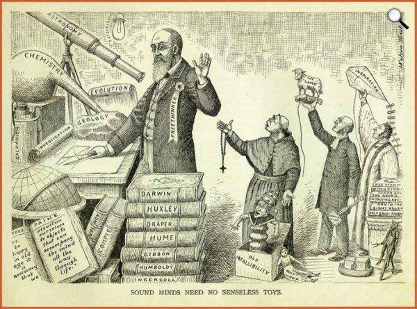 szabadgondolkodók, könyvillusztráció, 1898 (fotó: darwinday.org)