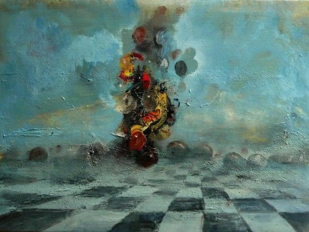 Pinczés József: Rejtőzködő, 2014, olaj, vászon, 30x40cm