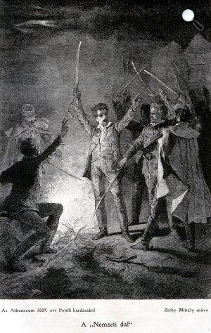Petőfi a katonák között, 1845, Zichy Mihály litográfiája (Fotó: PIM)