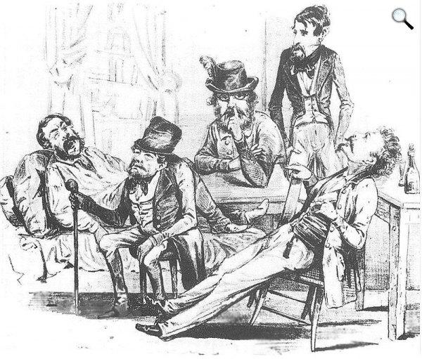 Szerelmey Miklós karikatúrája Petőfiről és lapalapításról álmodozó márciusi ifjakról, 1848 (Fotó: Wikipédia)