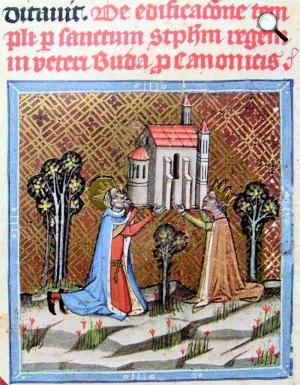 Chronicon Pictum P042 Óbudai templom alapítása, István és Gizella megalapítja az óbudai Péter-Pál templomot (miniatúra a Képes krónikából)