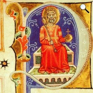 Szent István a trónon, Képes Krónika (Fotó: OSZK)