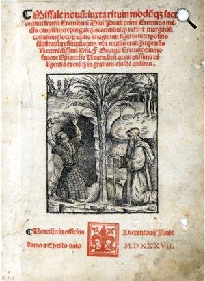 Pálos misekönyv címlapja, Remete Szt. Antal és Remete Szt. Pál találkozása, 1537 (Fotó: OSzK)