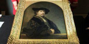 Londonból Budapestre érkezett Rembrandt Önarcképe (MTI Fotó: Koszticsák Szilárd)