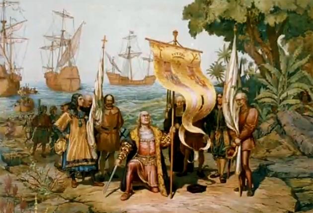 Kolumbusz Kristóf és az őslakosok találkozása, 1893 (Fotó: Wikipédia)