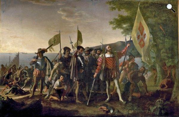 John Vanderlyn: Kolumbusz Amerikába érkezése, 1492 (Fotó: Wikiart)