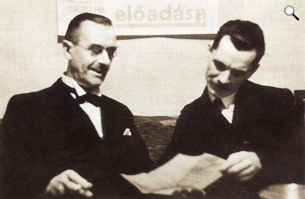 Thomas Mann és József Attila Budapesten 1937-ben (Fotó: Escher Károly/PIM)