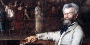 Hans Temple: Munkácsy Mihály portréja (A Krisztus Pilátus előtt című festményén dolgozik), 1887 (Fotó: Wikiart)