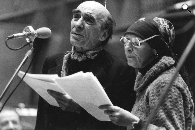 Magyar Rádió, Rádiókabaré felvétele, Major Tamás és Psota Irén színművészek 1979-ben, Budapest,(Fotó: Fortepan)