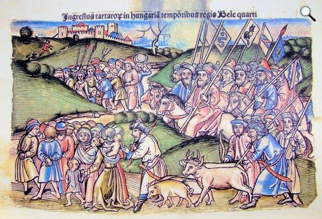 A tatárok betörésének ábrázolása Thuróczi János krónikájában, 1488 (Fotó: MEK/OSZK)