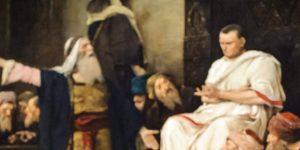Munkácsy Mihály Krisztus-trilógiája (Golgota, az Ecce Homo és a Krisztus Pilátus előtt) Debrecenben a Déri Múzeumban (MTI Fotó: Czeglédi Zsolt)