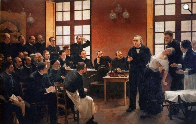 Joseph Babiński: Jean-Martin Charcot egy hiszérikus paciensen demonstrálja a hipnózist, 1887 (Fotó: Wikiart)