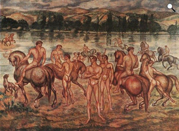 Kernstok Károly: Lovasok a víz partján, 1910 (Fotó: Wikiart)