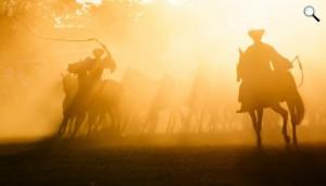 Csikósok hajtják a mátai ménest naplementekor a 49. Hortobágyi Lovasnapok és Nyeregszemlén, 201