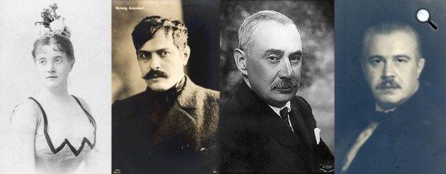 Hunyady Margit, Bródy Sándor, Krúdy Gyula, Hunyady Sándor (Fotók: PIM, OSZK)