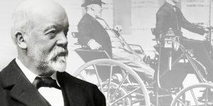 Gottlieb Daimler autófeltaláló, autógyáros, 1885 (Fotó: Mercedes Benz Museum, Stuttgart)