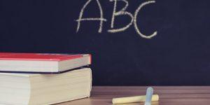 ABC, iskola, könyv, tábla