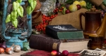 Könyvek, őszi csendélet
