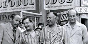 Karinthy Frigyes, Salamon Béla, Rejtő Jenő és egy ismeretlen, 1938 nyara (Fotó: PIM)