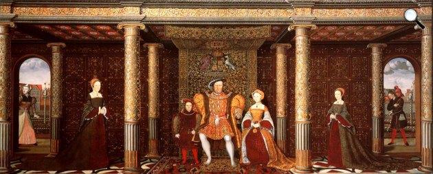 VIII. Henrik Anglia királya, felesége Jane Seymour és gyermekeik, Eduard, Mária és Erzsébet, 1545 (Fotó: Wikipédia)