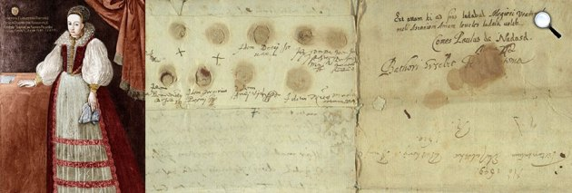 Báthory Erzsébet és kézirata, aláírása (Fotó: Magyar Nemzeti Levéltár Országos Levéltára)