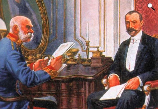 Ferenc József és Tisza István egy 1905-ben készült képeslapon (Fotó: OSZK)