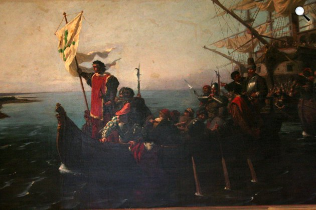 Collezione Andreoni Nascimbene: Kolumbusz Kristóf Amerikába érkezik (Fotó: Vatikán Múzeum/Wikipédia)