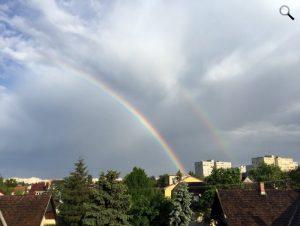 Szivárvány Budapest felett, a XV. kerületben 2016. május 7-én.  (Fotó: Oldal Ge