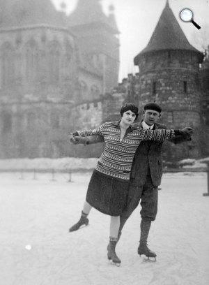 Korcsolyázók a budapesti Műjégpályán, Városliget, Budapest, 1934 (Fotó: Fortepan)