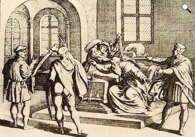 Martinuzzi Fráter György barát meggyilkolása 1551. december 17-én az alvincii kastélyban, 17. sz. rézmetszet (Fotó: MEK.OSZK)