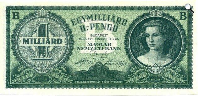 A legnagyobb címletű 1 milliárd bilpengős már nem került forgalomba, 1946 (Fotó: Magyar Nemzeti Bank)