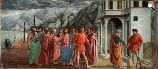 Masaccio: Adógaras, a Brancacci-kápolna freskójának részlete, Santa Maria del Carmine, Firenze (Fotó: Wikiart)
