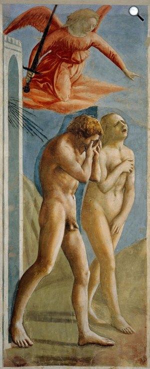 Masaccio: Kiűzetés a paradicsomból, a Brancacci-kápolna freskójának részlete, Santa Maria del Carmine, Firenze (Fotó: Wikiart)