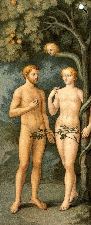 Masolino: Ádám és Éva megkísértése, a Brancacci-kápolna freskójának részlete, Santa Maria del Carmine, Firenze (Fotó: Wikiart)