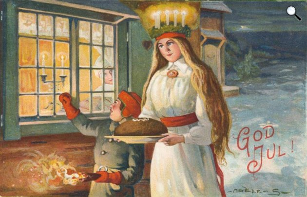 Adèle Söderberg: Szt. Lúcia karácsonyi kártya, 1916 (Fotó: Wikipédia)