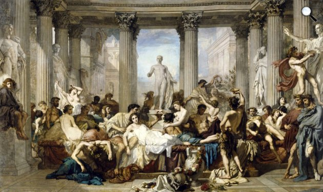 Thomas Couture: Dekadens rómaiak, 1847, Musée d'Orsay (Fotó: Wikipédia)
