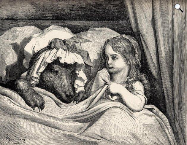 Grimm - Gustave Doré: Piroska és a farkas, illusztráció (Fotó: Wikiart)