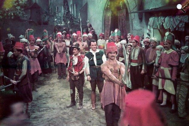 Nádasdy Kálmán: Gül Baba c. film forgatása. Középen Jávor Pál és Makláry Zoltán, 1940 (Fotó: Fortepan)