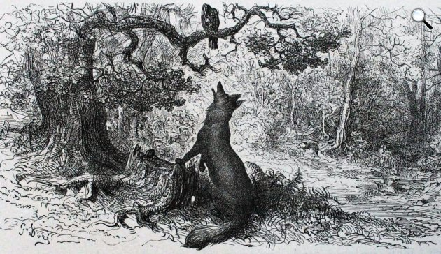 Jean de La Fontaine - Gustave Doré: Fables, A holló meg a róka, 1868 (Fotó: Wikiart)