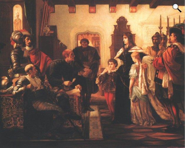 Madarász Viktor: Zrínyi Ilona Munkács várában (Zrínyi Ilona vizsgálóbírái előtt), 1859 (Fotó: MNG)