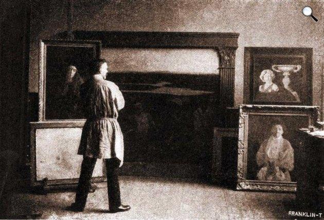 Ferenczy Károly (1862-1917) festőművész a műtermében, 1905 (Fotó: Ferenczy Múzeum / OSZK) )
