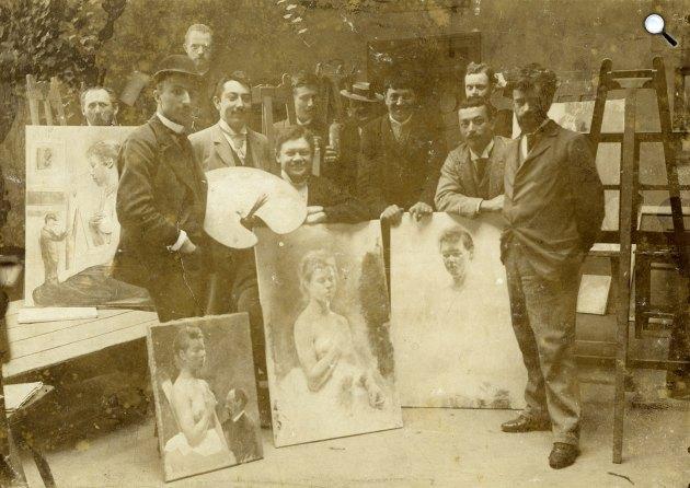 Hollósy Simon (1857-1918) a tanítványaival, 1894 (Fotó: MNG Adattár)