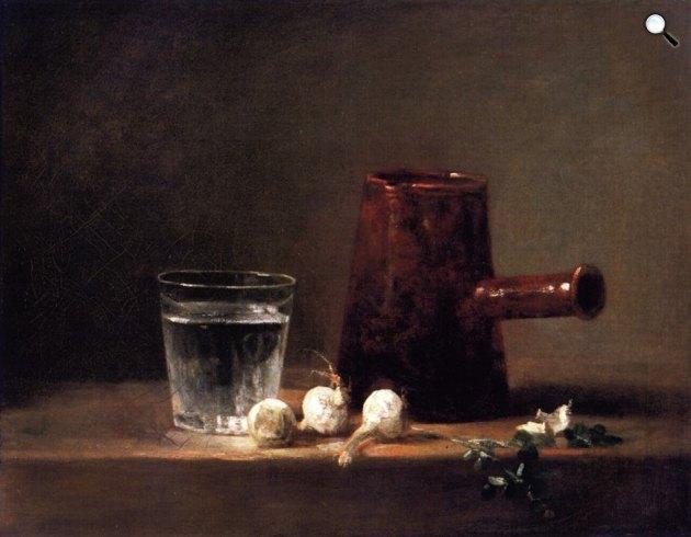 Jean-Siméon Chardin: Csendélet kancsóval és pohárral, 1760 (Fotó: Wikiart)