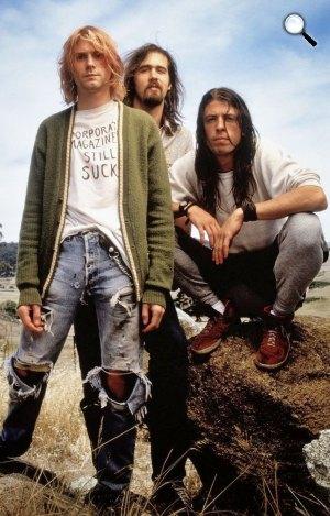 Nirvana rockegyüttes - Kurt Cobain,Krist Novoselic, Dave Grohl (Fotó: listal.com)