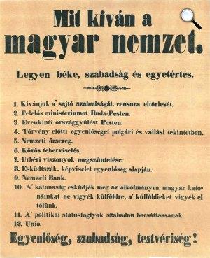 Tizenkét pont, 1848. márcisus 15. (Fotó: OSZK)