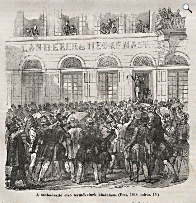 A 12 pont, a szabad sajtó első hivatalos terméke Pesten, 1848. március 15. (Fotó: Vasárnapi Ujság 1868. március 15. / OSZK)