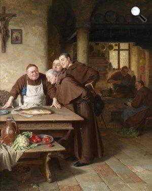 Eduard Grützner: Szerzetesek konyhájában, 1911 (Fotó: Wikiart)