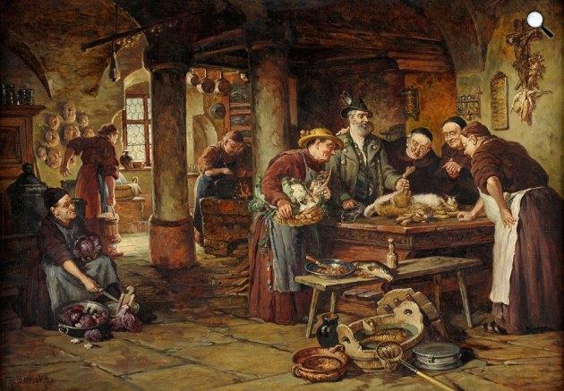Paul Gericke: Szerzetesek konyhájában, 1876 (Fotó: duesseldorfer-auktionshaus.de)